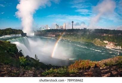 Pannoramic Landscape view of a Rainbow at Niagara Falls