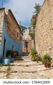 PANO LEFKARA, CYPRUS - JUNE 11, 2018: The view of traditional white ladder paved street of Pano Lefkara village consisting entirely of stone steps. Larnaca District. Cyprus