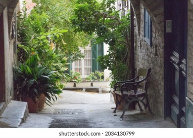 Pano Lefkara, Cyprus - October 14 2019: the view of typical street in the village on October 14 2019 in Pano Lefkara, Cyprus.