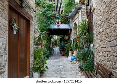 Pano Lefkara, Cyprus - September 26 2019: Traditional houses in Pano Lefkara village, one of the local landmark of Cyprus