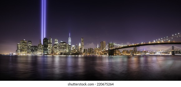 Pano of Manhattan in the memorial day, tribute lights at night, New York