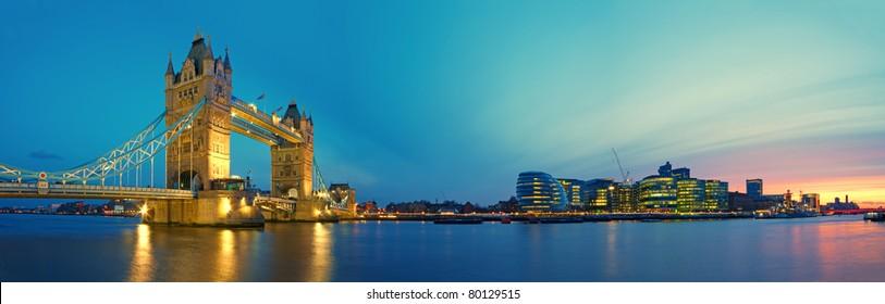 Panomaric, night image of Tower Bridge and Southwark.