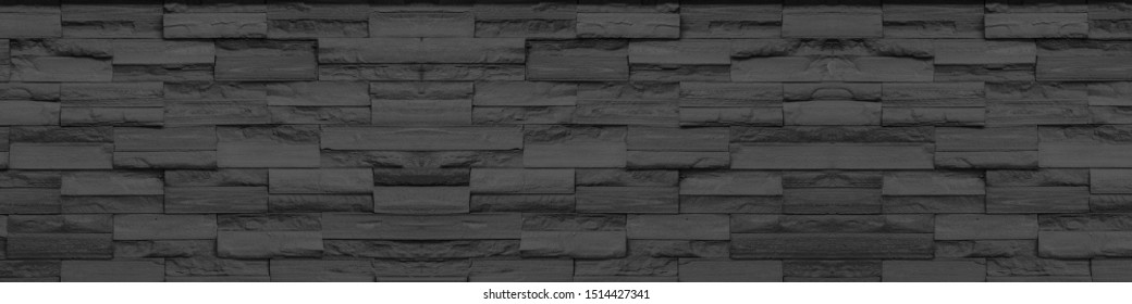 panoraam grey black  Slate Marble Split Face Mosaic  pattern and background brick wall floor top view surface
