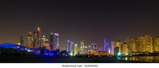 Panoram of night beach Dubai Marina