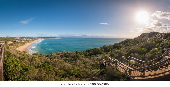 Panoram scenic view of Plettenberg Bay with Solar Beach, Sanctuary Beach, Robberg 5 beach, South Africa against blue sky