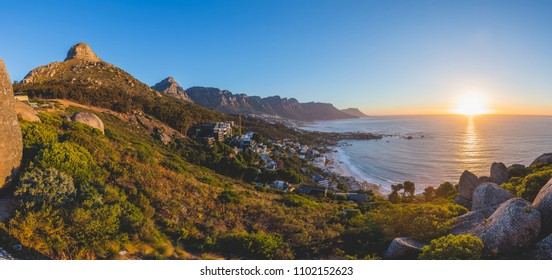 Panorama of the 12 Apostles and Lion's Head at sunset in Cape Town