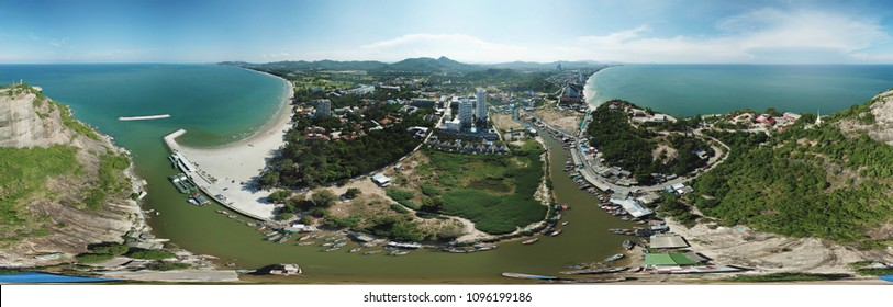 panorama, 360 angle background of the city, sea, beach and mountains of aerial drone shot at hua hin, thailand.