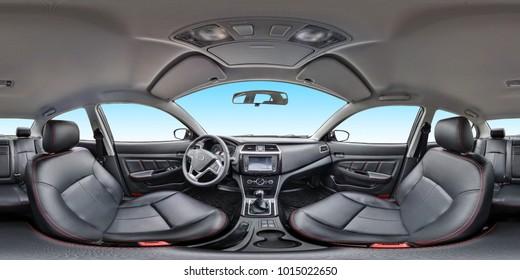 Panorama 360 ángulo en salón de cuero interior de prestigio moderno coche. Completa 360 por 180 grados sin fisuras, equirectangular, de panorama esférico equidistante. skybox para contenido vr ar