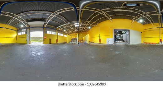 Panorama 360 angle view in interior stock storage of plastic bales at the waste processing recycling plant. Full 360 angle view seamless panorama in equirectangular projection. Skybox for vr content