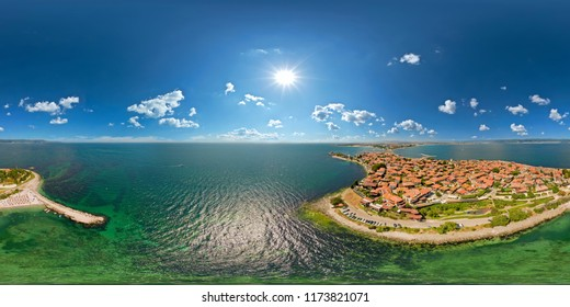Panorama 360 degree at air. Aerial view of the old Nessebar, Bulgaria. Beautiful view of nature.
