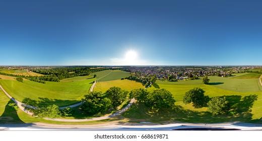 Panorama 360 degree at air. Augsburger Bismarckturm. Augsburg, Germany.