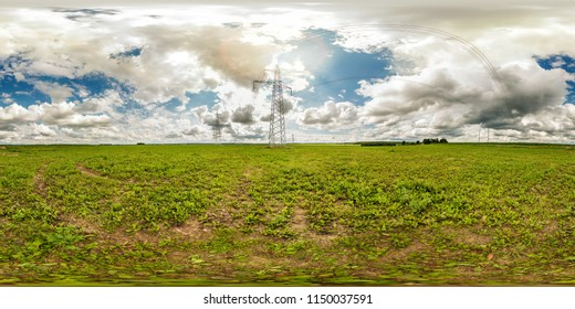 panorama 360 degrees angle view near high voltage electric pylon towers in field with beautiful clouds in equirectangular projection, skybox VR AR content