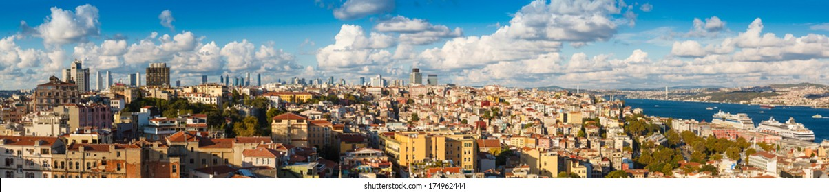 Panorama 360 degrees of Golden Horn Gulf and the Bosphorus in Istanbul, Turkey