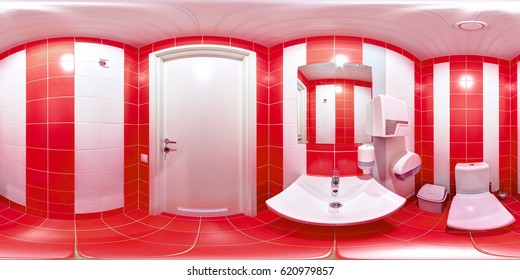Panorama of 360 degrees inside the toilet complex of the sports club with a washbasin door and toilet paper and a mirror.