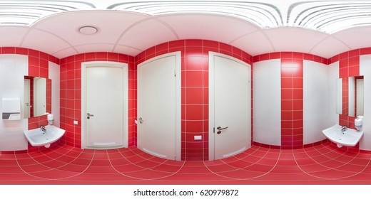 Panorama of 360 degrees inside the toilette sports club with tiled facing 360 degrees.
