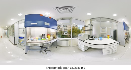 Panorama of 360 degrees laboratory with a large panoramic window and views of the street. Panorama of the laboratory without people 360 degrees in equidistant scan. Spherical panorama of the hospital
