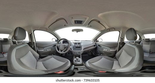 Panorama 360 in interior of prestige modern car Ravon white background. Full seamless equirectangular equidistant spherical 360 by 180 degrees view panorama. Skybox as background for vr ar content
