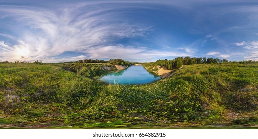 Panorama 360 near beautiful blue lake as Maldives at sunset. full 360 degree seamless panorama in equirectangular spherical equidistant projection. Skybox as background for virtual reality content