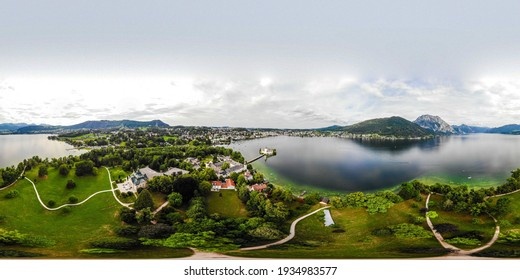 Panorama 360 on Castle Ort in Gmunden on Traunsee (lake Traun) with boats, Sailboats in  Salzkammergut nearby Salzburg, Traunkirchen Austria.