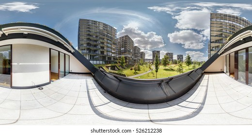 panorama 360 view from balcony on the luxury elite residential complex in sunny day. Full 360 degree angle seamless panorama in equirectangular spherical projection, Skybox for VR AR 3d content.