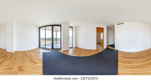 Panorama 360 view in modern white empty loft apartment interior of living room hall, full  seamless hdri 360 degrees angle view panorama in equirectangular spherical equidistant projection. VR content