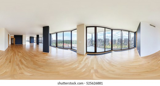 Panorama 360 view in modern white empty loft apartment interior of living room hall, full 360 by 180 degrees seamless panorama in equirectangular spherical equidistant projection.skybox VR AR content