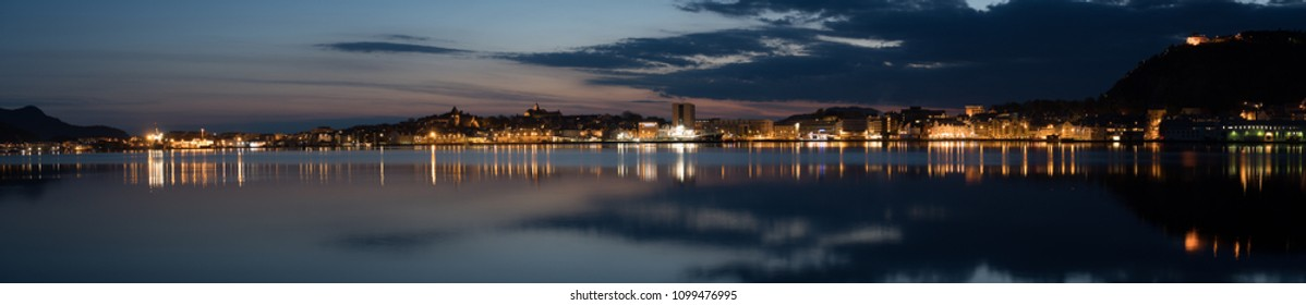 Panorama of Aalesund in Norway at dawn.