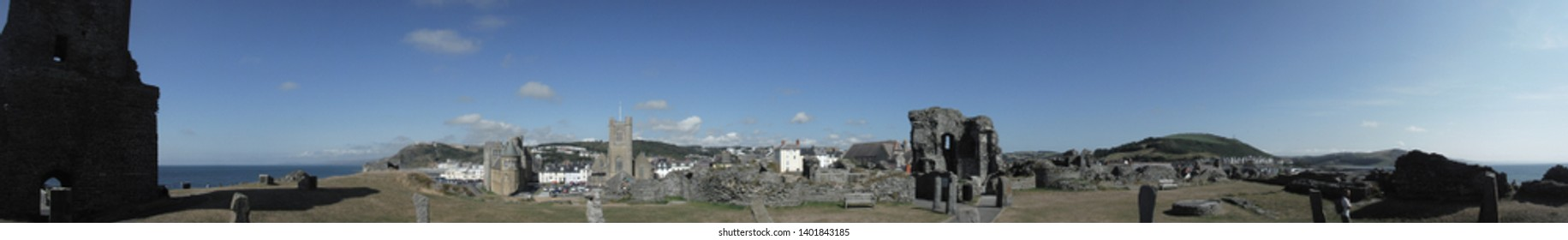 Panorama of Aberystwyth castle ruins on the seafront in Wales