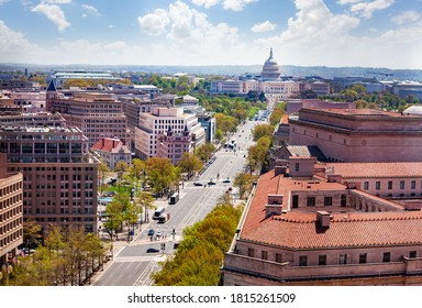 Panorama from above of Pennsylvania Avenue and United States Capitol Building towards USA Congress on National Mall in Washington, D.C.