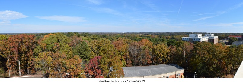 Panorama across the University of Mississippi campus and the town of Oxford