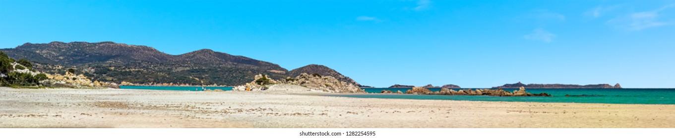 A panorama across the Villasimius beach, Sardinia in summertime