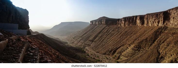 Panorama with Adrar mountain, rocks and gorge, Mauritania