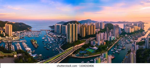 Panorama Aerial bird eye view Photography Seaside Skyscrapers in Aberdeen,Hong Kong