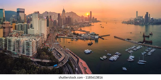 Panorama Aerial bird eye view Photography viewpoint urban landscape sunset traffic at Victoria harbour in Hong Kong