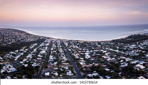 Panorama Aerial drone Picture of city and the beach of Torquay in Victoria, Australia
