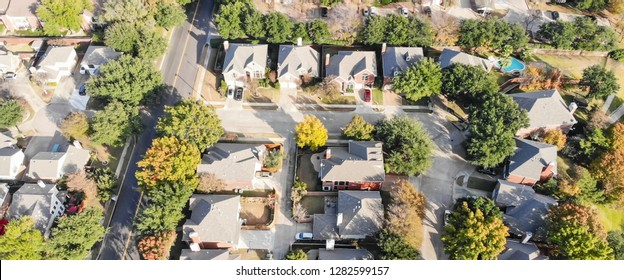 Panorama aerial drone view row of single-family detached house in residential area with colorful autumn leaves. Straight down view of suburban subdivision near Dallas, Texas, USA