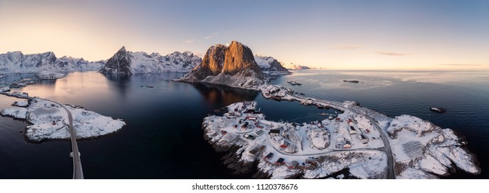 Panorama aerial view of archipelago of arctic ocean with fishing village in winter at Hamnoy, Lofoten islands, Norway