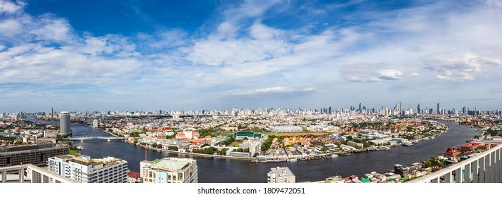 Panorama aerial view of Bangkok skyline and skyscraper waterfront of the Chao Phraya River