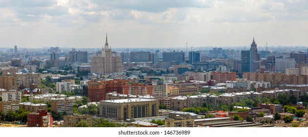 panorama (aerial view) of the city Moscow in the summer on a sunny day with clouds