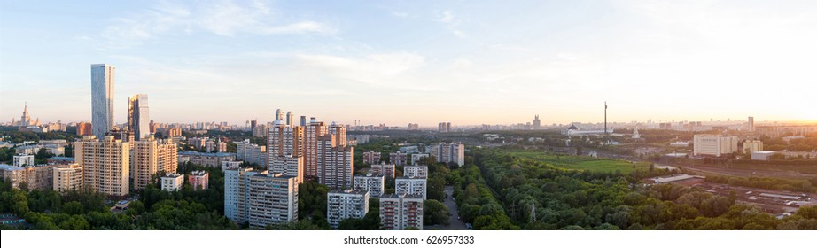 panorama (aerial view) of the city Moscow at the summer on a during sunset with clouds