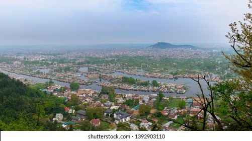 Panorama aerial view cityscape of Houseboat in Dal Lake is famous place the main attractions at Srinagar, Jammu and Kashmir, India.