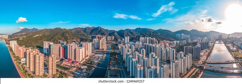 Panorama aerial view cityscape of Shatin, Hong Kong