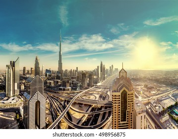 Panorama and aerial view of downtown Dubai in a summer day, United Arab Emirates