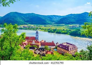 panorama aerial view of Durnstein village situated in wachau valley in Austria