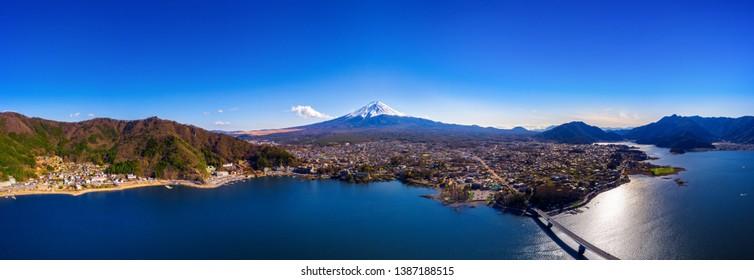 Panorama of aerial view Fuji mountain and kawaguchiko lake in Japan.