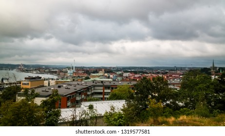 Panorama aerial view to Goteborg from Masthugg church viewpoint in Goteburg, Sweden
