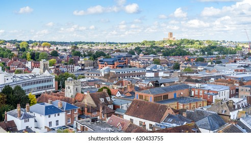Panorama of the aerial view of Guildford, Surrey, UK