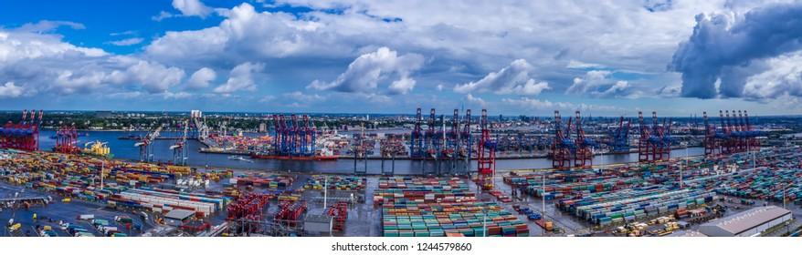 Panorama aerial view of Hamburg harbor