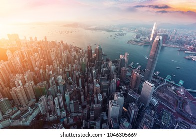 Panorama aerial view of Hong Kong Crowded Buildings