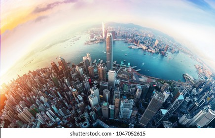 Panorama aerial view of Hong Kong City